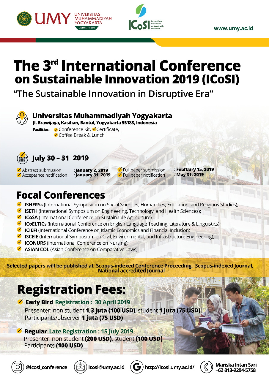 The 3rd International Conference on Sustainable Innovation 2019